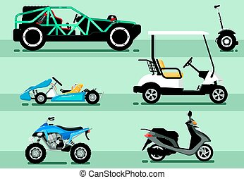 Modern auto vehicle vector isolated set