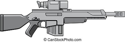 modern automatic gun isolated on the white background