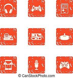 Modern automobile icons set, grunge style