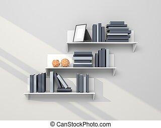 stock illustrationen von modern bookshelf blaues. Black Bedroom Furniture Sets. Home Design Ideas