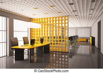 modern, büro- innere, 3d, render