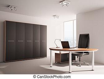 modern, büro- innere, 3d