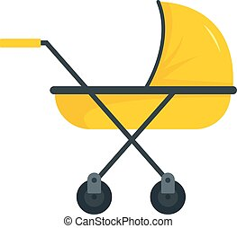 Modern baby carriage icon, flat style