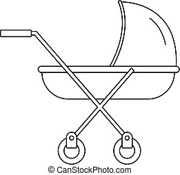Modern baby carriage icon, outline style