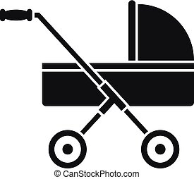 Modern baby carriage icon, simple style