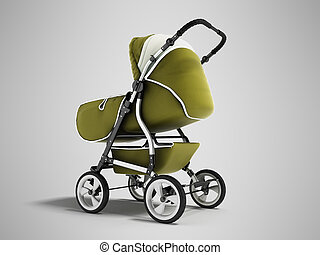 Modern baby carriage with dome against rain and wind green 3d render on gray background with shadow