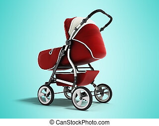 Modern baby carriage with dome against rain and wind red with white insets 3D render on blue background with shadow