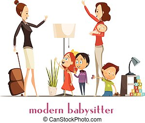 Modern Babysitter Nanny Service Cartoon Illustration -...
