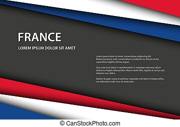 Modern background with French colors and grey free space for your text, Made in France, vector overlayed sheets of paper in the look of the French flag