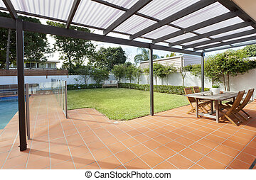Modern backyard with pool - Modern backyard with swimming...