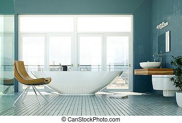 modern, badezimmer, inneneinrichtung, 3d, übertragung, mit, meerblick