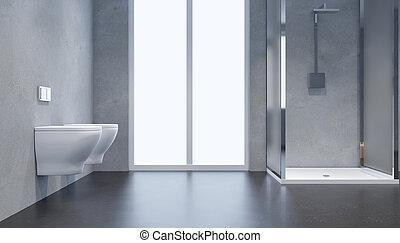 Modern, Badezimmer, Inneneinrichtung, Mit, Glas Tür, Shower., 3d,