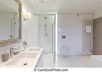 Modern, Badezimmer, Mit, Glas, Zelle Duschen