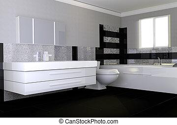 Modern, Badezimmer, Mit, Schwarz Weiß, Granit, Stein