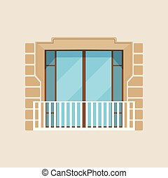 Modern balcony classical house facade vector Illustration