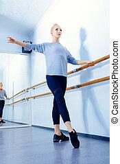 in a ballet class
