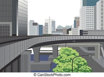 Bangkok city with highway, tree and office buildings vector illustration.