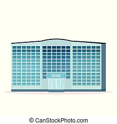 modern bank building facade with glass wall front view of ...