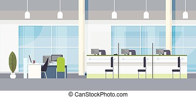 Modern Bank Office Interior Workplace Desk Flat Design...
