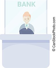 Modern bank teller icon, cartoon style
