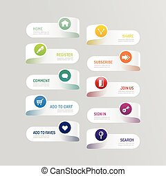 Modern banner button with social icon design options. Vector...
