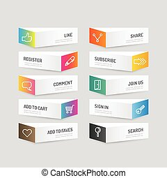 modern, banner, taste, mit, sozial, ikone, design, options.,...
