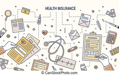 Modern banner with hands filling out health insurance form and calculating healthcare expenses surrounded by pills, medical tools, documents, money bills, coins. Vector illustration in line art style.