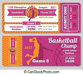 Modern basketball ticket vector template
