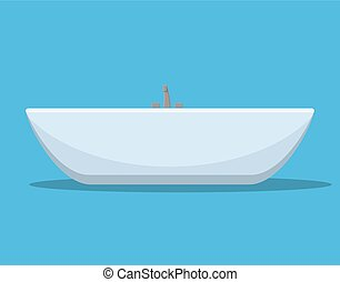 Modern bath isolated on background.