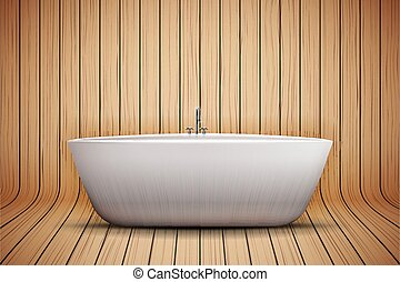 Modern bath on wooden background