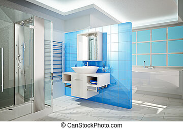 Modern Bathroom - 3D Illustration of modern bathroom...