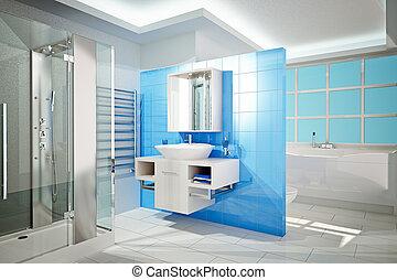 Modern Bathroom - 3D Illustration of modern bathroom ...