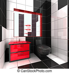 Modern bathroom - 3D rendering of a modern bathroom in...