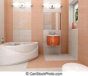 Modern bathroom - 3D rendering of a modern bathroom with in ...