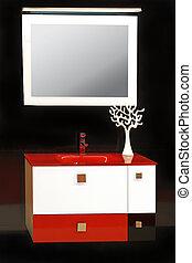 Modern bathroom basin - Modern bathroom interior detail with...