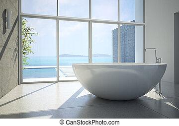 bathroom - modern bathroom in an apartment, 3D RENDERING