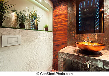 Modern bathroom in expensive house - View of modern bathroom...