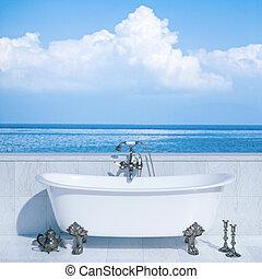 Modern bathroom in luxury villa on open air terrace with ocean view. 3D render