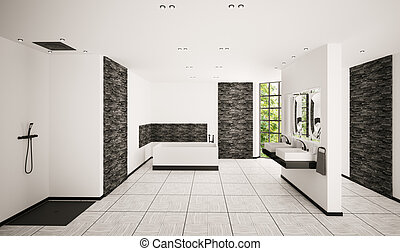 Modern bathroom interior 3d render - Modern bathroom with...
