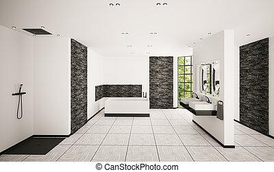 Modern bathroom interior 3d render - Modern bathroom with ...