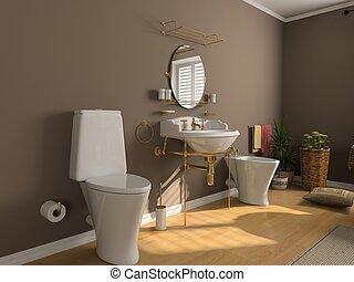 bathroom interior - modern bathroom interior (3d rendering)