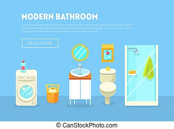 Modern Bathroom Interior Banner Template with Furniture and Accessories Vector Illustration