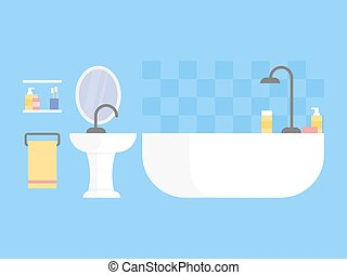 Modern bathroom interior design icon. Vector illustration