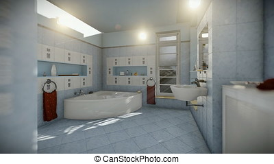 Modern bathroom interior, timelapse night to day