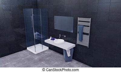Modern bathroom interior with dark gray tiled wall - Simple...