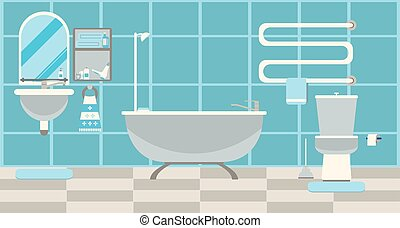 Modern bathroom interior with furniture. Flat Vector illustration.