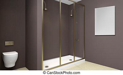 Modern bathroom interior with glass door shower. 3D rendering