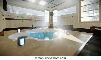 Modern bathroom interior with jacuzzi and wine, tilt