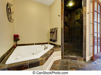 Modern bathroom interior with tile shower trim