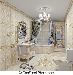 Bathroom interior - Modern Bathroom interior with tiles and...